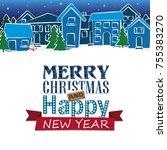 christmas  new year  winter ... | Shutterstock .eps vector #755383270