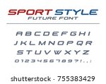high speed universal font. fast ... | Shutterstock .eps vector #755383429