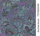 floral pattern on abstract... | Shutterstock . vector #755383540