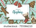 festive christmas background... | Shutterstock . vector #755386210