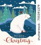 vector christmas poster design... | Shutterstock .eps vector #755391379