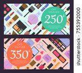 vector gift card vouchers for... | Shutterstock .eps vector #755392000