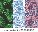 set of three seamless floral... | Shutterstock .eps vector #755393953