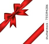 red gift bow and ribbon. | Shutterstock .eps vector #755394286
