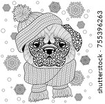 pug dog with knitted hat and... | Shutterstock .eps vector #755396263