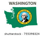 flag and map of washington.... | Shutterstock .eps vector #755398324