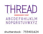 embroidery font thread  vector... | Shutterstock .eps vector #755401624