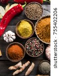 spices and herbs in wooden... | Shutterstock . vector #755402206