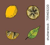 hand drawn vector images of... | Shutterstock .eps vector #755403220