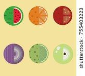 flat design fruits and... | Shutterstock .eps vector #755403223