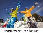 group of happy friends having... | Shutterstock . vector #755404489