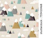 mountain seamless pattern. flat ... | Shutterstock .eps vector #755410468