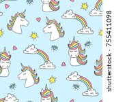 unicorn and rainbow seamless... | Shutterstock .eps vector #755411098