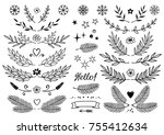 set of hand drawn branches with ... | Shutterstock . vector #755412634