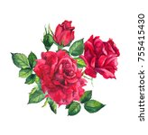 Stock photo red roses watercolor painting 755415430