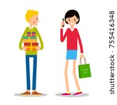 young man is standing and... | Shutterstock .eps vector #755416348