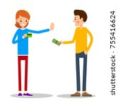 young man wants to pay for the... | Shutterstock .eps vector #755416624