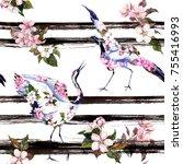 crane birds with pink spring... | Shutterstock . vector #755416993
