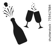 champagne bottle and two... | Shutterstock .eps vector #755417884