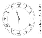 clock with roman numerals.... | Shutterstock .eps vector #755417920
