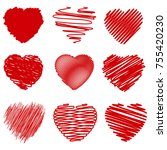 set of grunge hearts | Shutterstock . vector #755420230