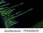 screen with crypto code  green... | Shutterstock . vector #755420419