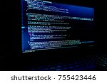 screen with software developer... | Shutterstock . vector #755423446