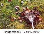 pile of fall leaves with fan... | Shutterstock . vector #755424040