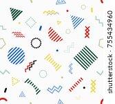 memphis style seamless pattern... | Shutterstock .eps vector #755434960