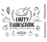 happy thanksgiving greeting... | Shutterstock .eps vector #755441293