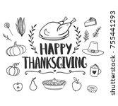 happy thanksgiving greeting... | Shutterstock .eps vector #755441293