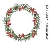 Watercolor Christmas Wreath Of...