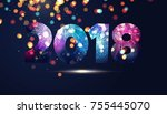 happy new year 2018 text design.... | Shutterstock .eps vector #755445070