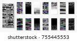glitch backgrounds set.... | Shutterstock .eps vector #755445553