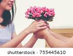 romantic photo of happy young... | Shutterstock . vector #755445610