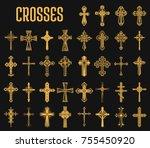 crosses of christian religion.... | Shutterstock .eps vector #755450920