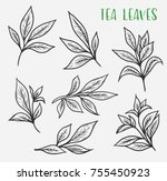 set of isolated sketches of... | Shutterstock .eps vector #755450923