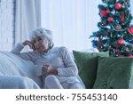 lonely senior citizen sitting... | Shutterstock . vector #755453140