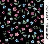 delicate magnolia and tea rose. ... | Shutterstock .eps vector #755453914