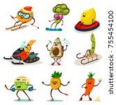 funny fruits and vegetables are ... | Shutterstock .eps vector #755454100