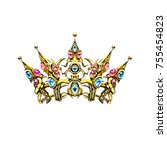 crown  decorative elements in...   Shutterstock . vector #755454823