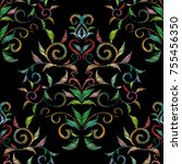 embroidery damask seamless...   Shutterstock .eps vector #755456350