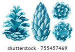 watercolor pinecone. christmas... | Shutterstock . vector #755457469