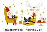 happy 2018 new year card. funny ... | Shutterstock .eps vector #755458219