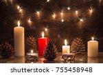 christmas  rustic wooden... | Shutterstock . vector #755458948