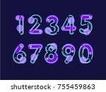 set of ten numbers form zero to ... | Shutterstock .eps vector #755459863
