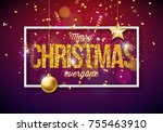 vector merry christmas...   Shutterstock .eps vector #755463910