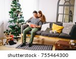 woman opening a gift box and... | Shutterstock . vector #755464300