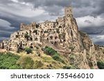 craco  italy   town abandoned... | Shutterstock . vector #755466010