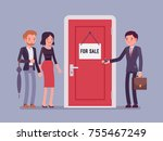 new apartment selling. man from ... | Shutterstock .eps vector #755467249